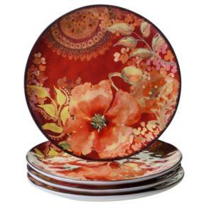 Certified International Watercolor Poppies 4-pc. Dinner Plate Set