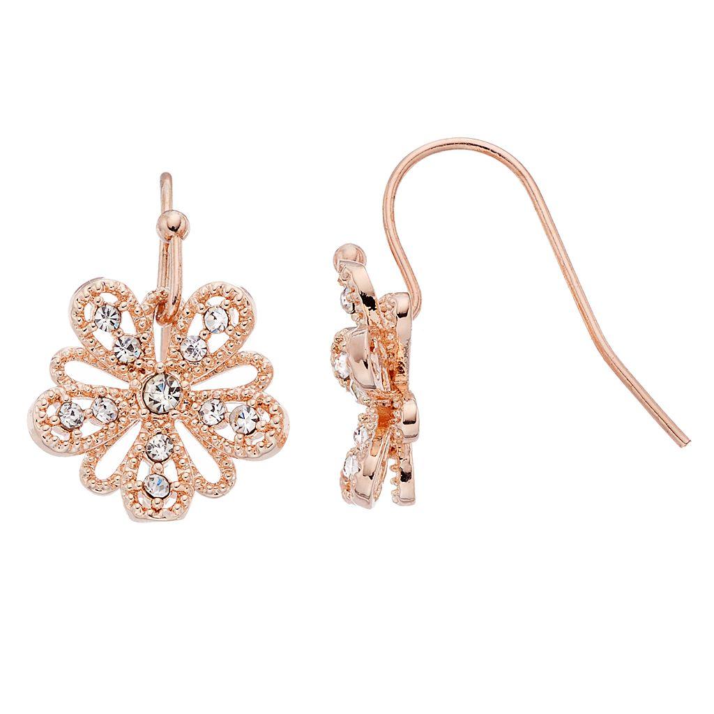 LC Lauren Conrad Openwork Flower Drop Earrings
