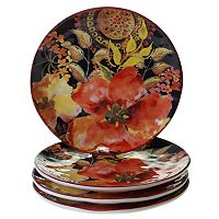 Certified International Watercolor Poppies 4 pc Dessert Plate Set