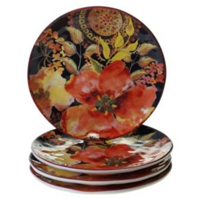 Certified International Watercolor Poppies 4-pc. Dessert Plate Set