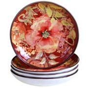 Certified International Watercolor Poppies 4 pc Soup Bowl Set