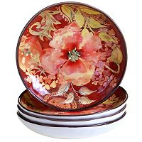 Certified International Watercolor Poppies 4-pc. Soup Bowl Set