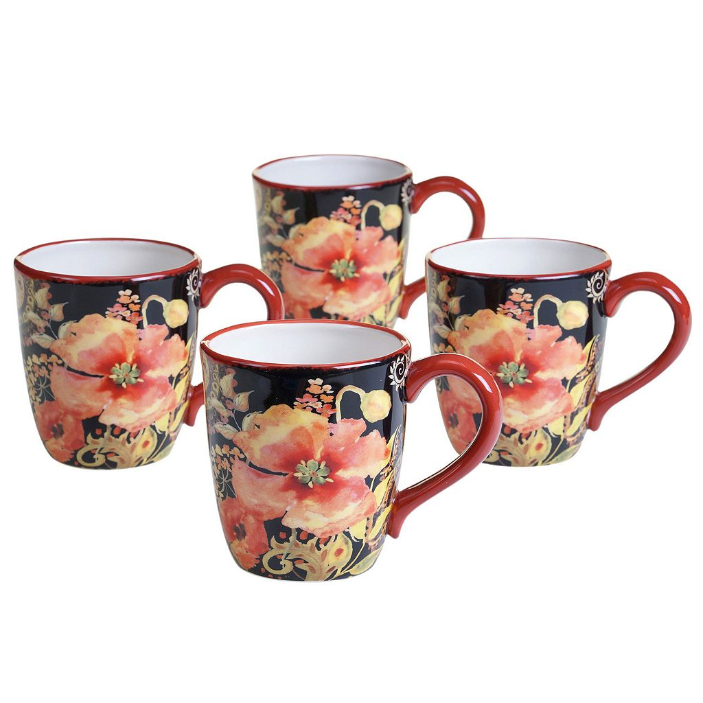 Certified International Watercolor Poppies 4-pc. Mug Set 16 oz.