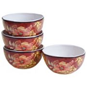 Certified International Watercolor Poppies 4 pc Ice Cream Bowl Set