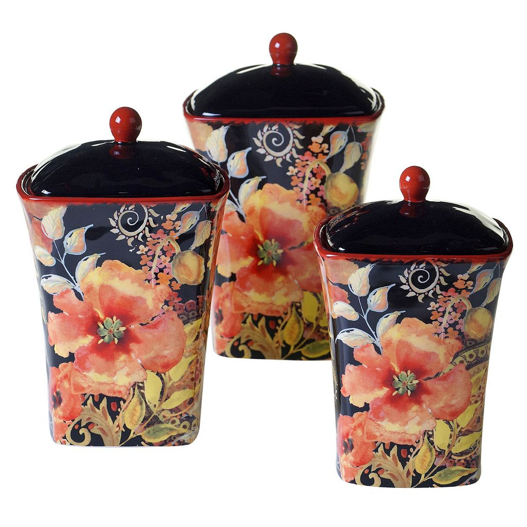 Certified International Watercolor Poppies 3-pc. Canister Set