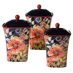 Certified International Watercolor Poppies 3 pc Canister Set