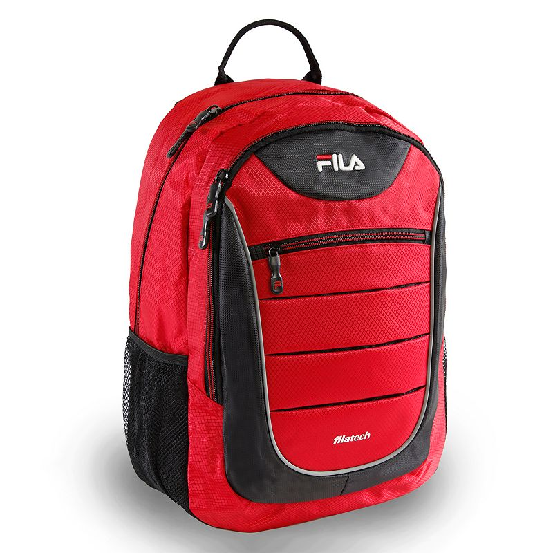 Fila® Argus Laptop Backpack, Red Stay organized and on track with this FILA Argus backpack. Laptop compartment fits up to a 15.6-in. laptop Tablet sleeve protects electronic devices Organizer keeps items easy to locate Adjustable strap for comfortable carrying 18 H x 12.5 W x 9.5 D Weight: 0.5 lbs. Nylon Zipper closure Manufacturer's 2-year limited warrantyFor warranty information please click here Model no. FL-BP-1355 Size: One size. Color: Red.
