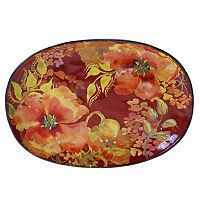 Certified International Watercolor Poppies 17 in Oval Platter