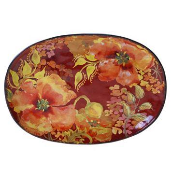 Certified International Watercolor Poppies 17-in. Oval Platter