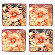 Certified International Watercolor Poppies 4 pc Canape Plate Set