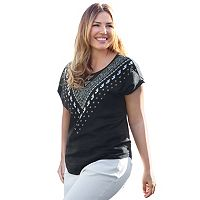 Plus Size Apt. 9® Embellished Bar Back Tee