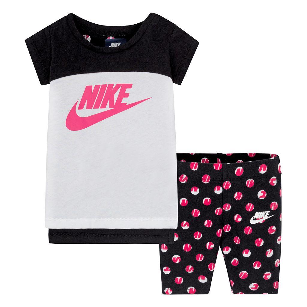 Baby Girl Nike Tunic & Dot Capris Set