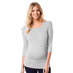 Maternity Pip & Vine by Rosie Pope Solid Ruched Tee