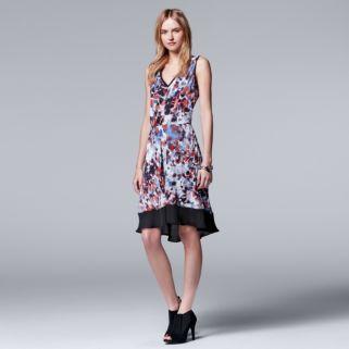 Petite Simply Vera Vera Wang Printed Fit & Flare Dress