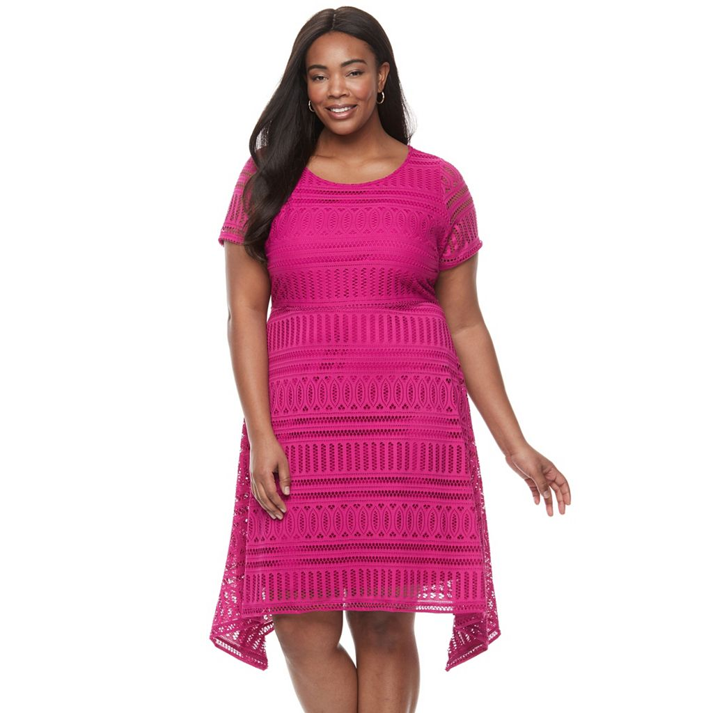 Plus Size Dana Buchman Lace Shark-Bite Dress