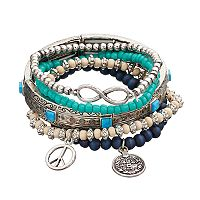 Mudd® Peace Sign & Infinity Charm Beaded Stretch Bracelet Set