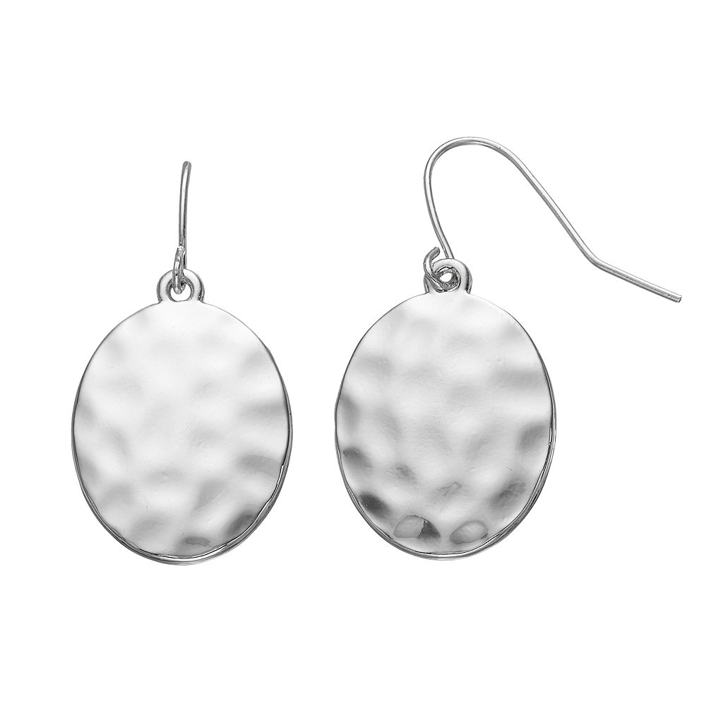 Chaps Hammered Oval Drop Earrings