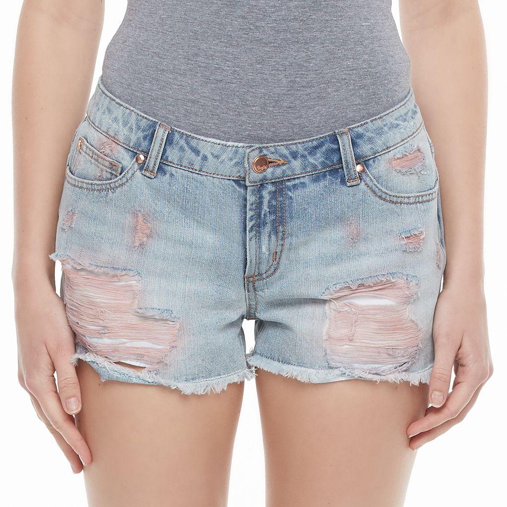 Juniors' Candie's® High-Waist Ripped Jean Shortie Shorts