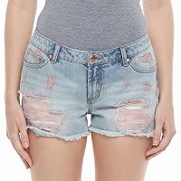 Juniors' Candie's® High-Waist Ripped Jean Shortie Shorts