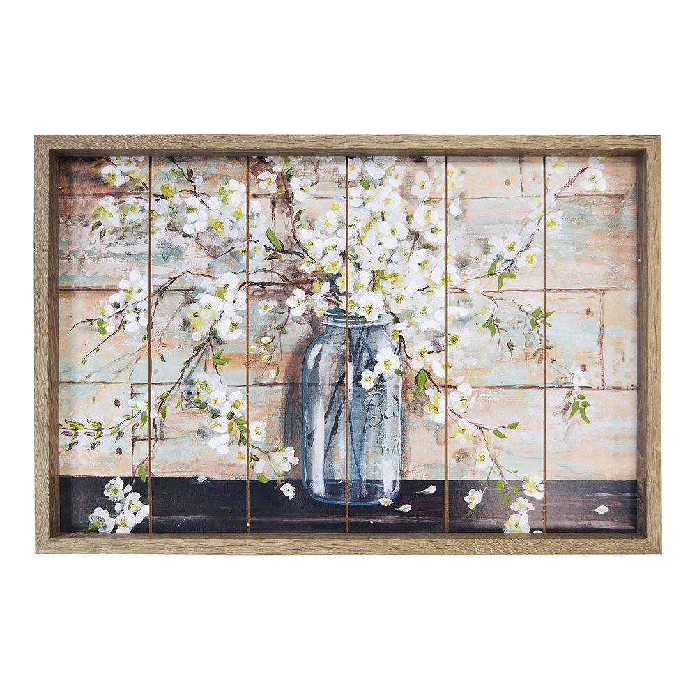New View Planked Farmhouse Mason Jar Flower Framed Wall Art