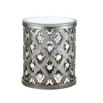 Madison Park Quatrefoil Mirrored End Table
