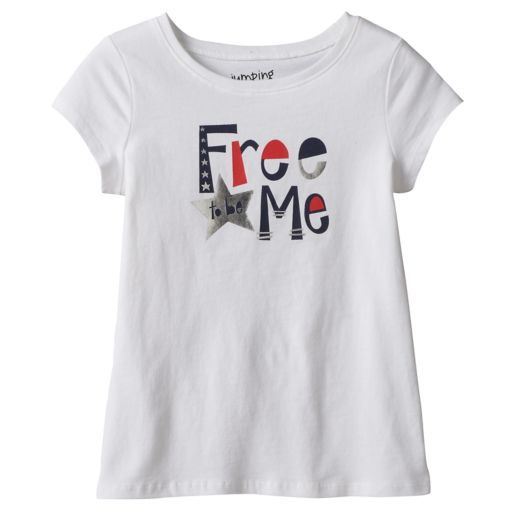 """Girls 4-10 Jumping Beans® Short Sleeve """"Free to be Me"""" Foil Graphic Tee"""