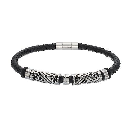FOCUS FOR MEN Black Leather & Stainless Steel Braided Bracelet