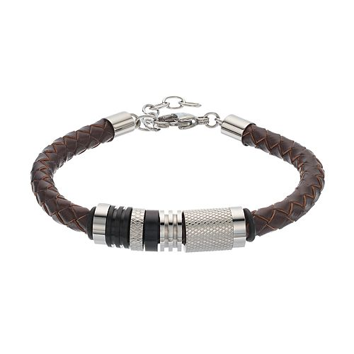 FOCUS FOR MEN Brown Leather & Stainless Steel Braided Bracelet