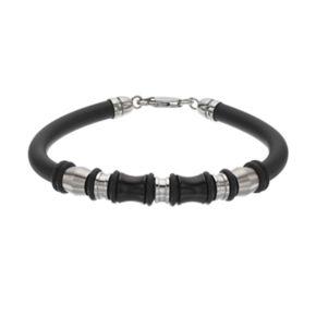 FOCUS FOR MEN Black Rubber & Stainless Steel Bead Bracelet