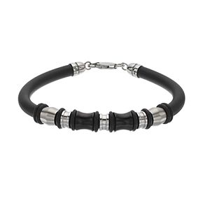 FOCUS FOR MEN Black Rubber & Stainless Steel Bead Bracelet