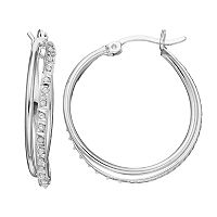 Diamond Mystique Platinum Over Silver Twist Hoop Earrings
