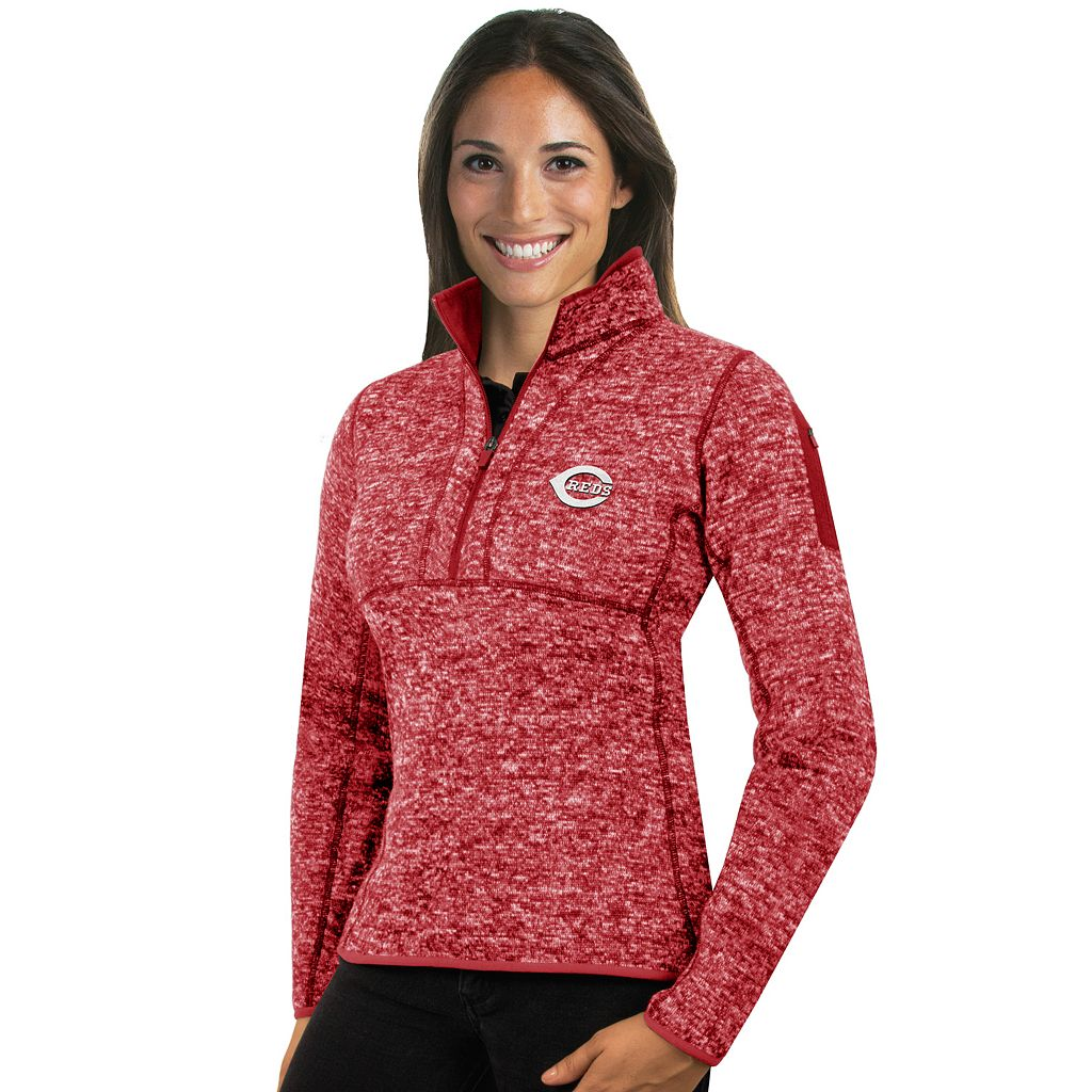 Women's Antigua Cincinnati Reds Fortune Midweight Pullover Sweater
