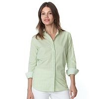 Women's Chaps Notchneck Button-Down Top