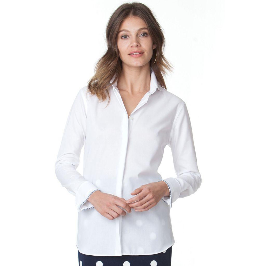 Women's Chaps Notchneck Button-Down Top