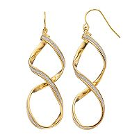 18k Gold Over Silver Glittery Twist Drop Earrings