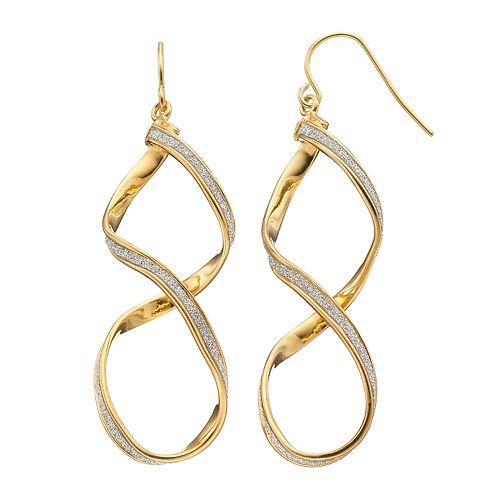 18k Gold Over Silver Glittery Twist Drop Earrings