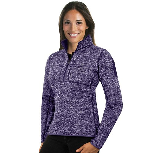 Women's Antigua Colorado Rockies Fortune Midweight Pullover Sweater