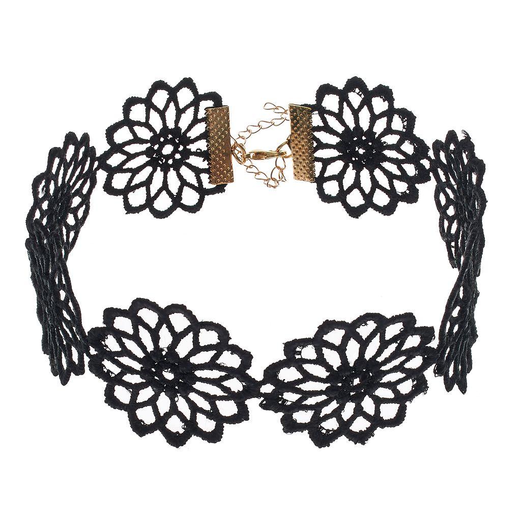 Mudd® Black Macrame Flower Choker Necklace