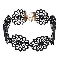 Mudd® Black Macrame Flower Choker Necklace