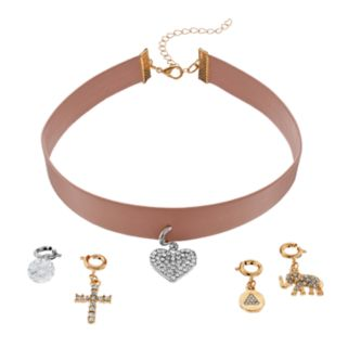 Mudd® Heart, Cross & Elephant Charm Choker Necklace