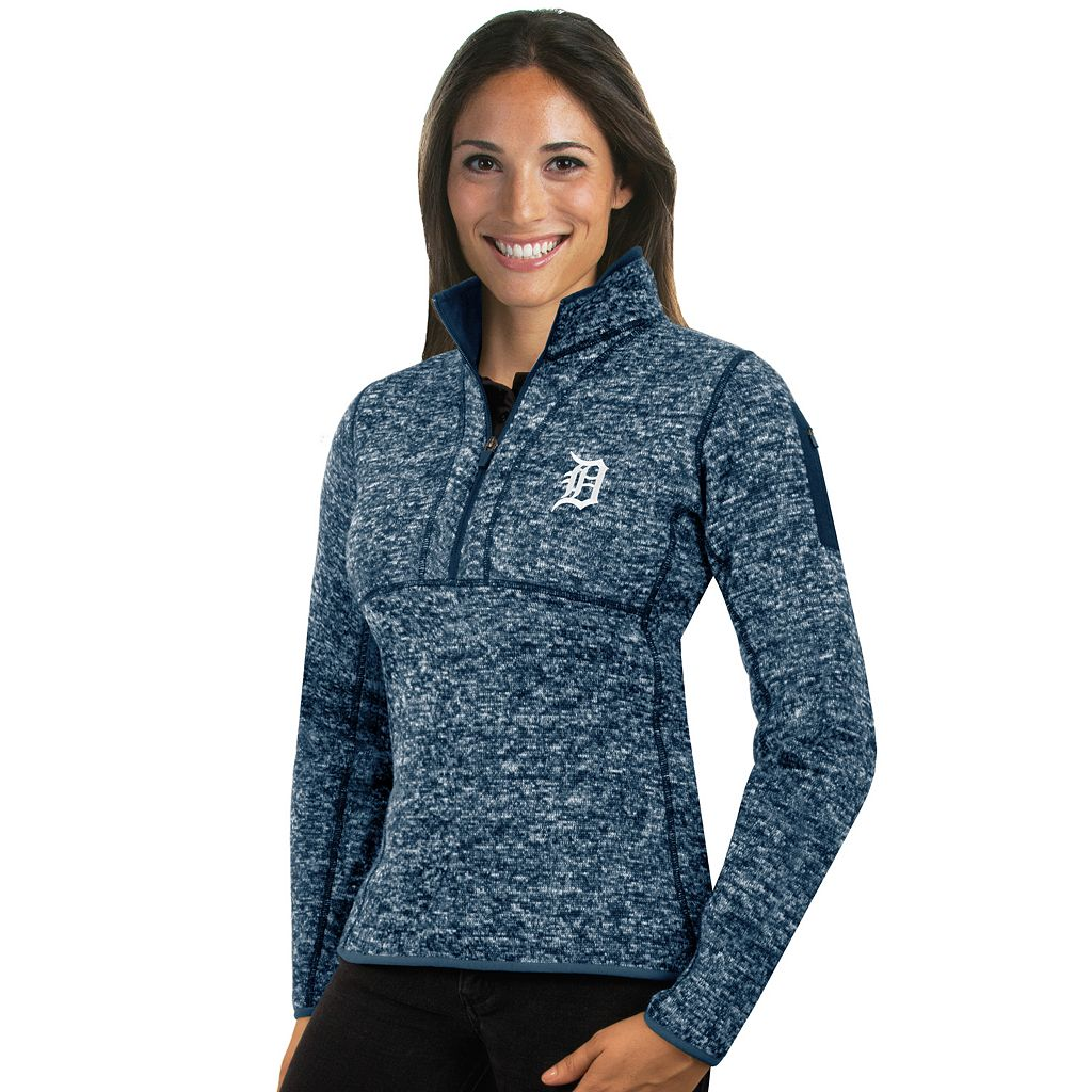 Women's Antigua Detroit Tigers Fortune Midweight Pullover Sweater