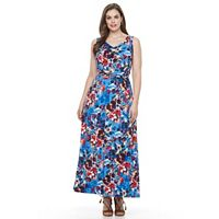 Plus Size Suite 7 V-Neck Ruched Waist Maxi