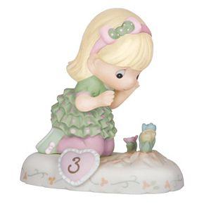 Precious Moments Age 3 Girl & Flowers Figurine