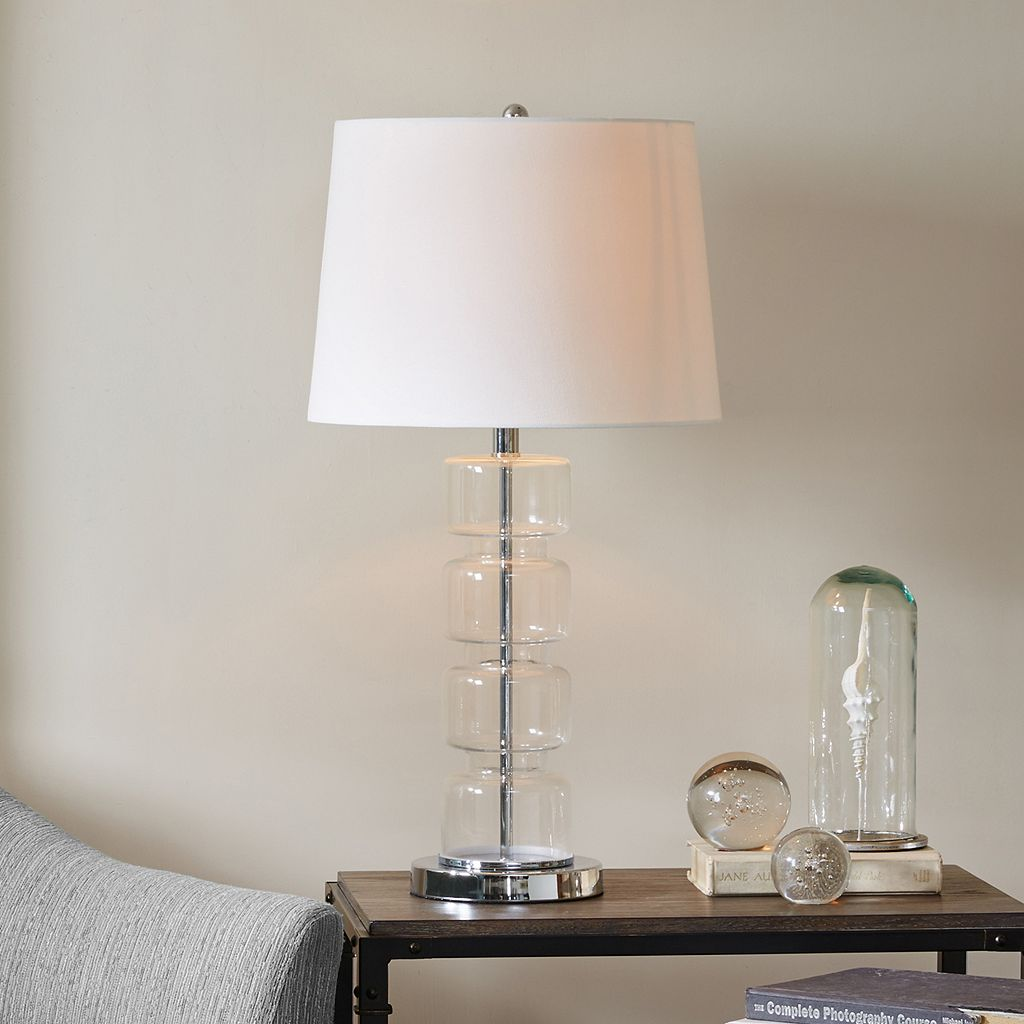 INK+IVY Chrome Finish Glass Table Lamp