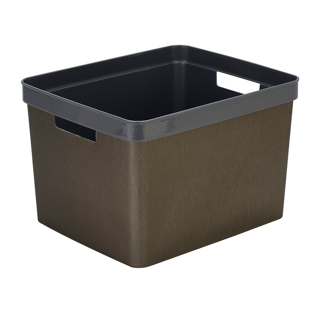 Simplify Metallic Textured Storage Bin