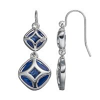 Chaps Blue Geometric Double Drop Earrings