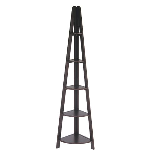 Home Star Products Espresso Corner Ladder Bookcase