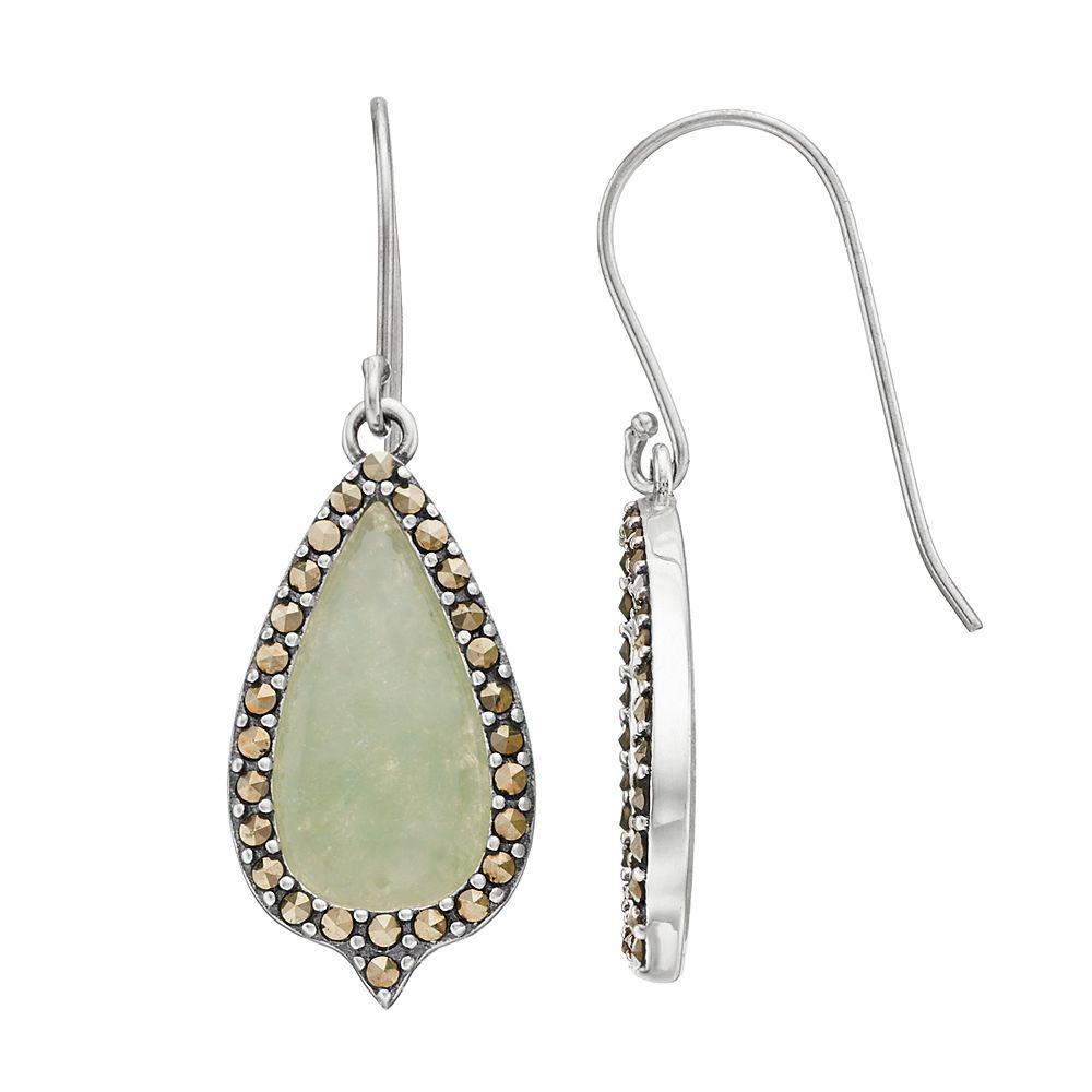 Tori Hill Jade & Marcasite Teardrop Earrings