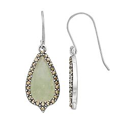Tori Hill Jade & Marcasite Teardrop Earrings