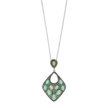 Tori Hill Silver Plated Simulated Opal & Marcasite Pendant